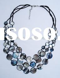 3 lines shell beads handmade necklace with seed beads chain