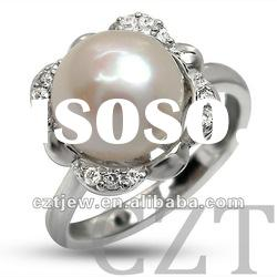 925 sterling silver jewelry ring inlay CZ with Freshwater Pearl