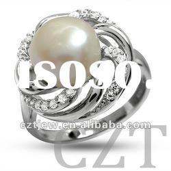 925 sterling silver ring inlay CZ with Freshwater Pearl jewelry