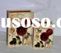 Antique Flower & Butterfly Scene Decorative Wooden Book Box