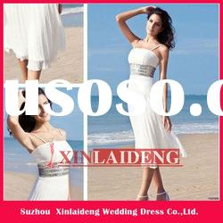 BHD001 chiffon tea length casual beach wedding dresses 2012