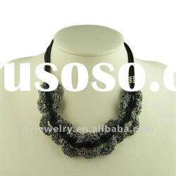 Black String With Silver Alloy Ornament Necklace, Fashion Choker Necklace