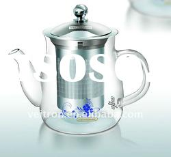 Borosilicate Crystal Clear Glass Teapot with Stainless Steel Infuser