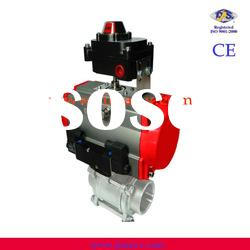 CE, ISO 3 pc spring return pneumatic actuator cf8m ball valve