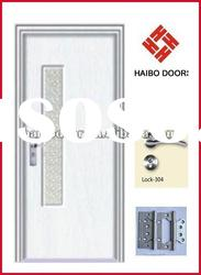 Cheap MDF wooden door with glass for bathroom (HB-8199)