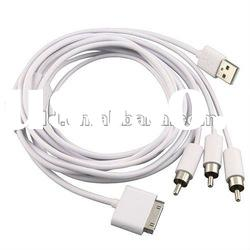 Composite AV Cable with USB for Apple iPhone,iPod,iPad