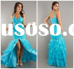 Deep V Neck Crystal Beaded Organza Drop Waist Prom Evening Gown EV1365
