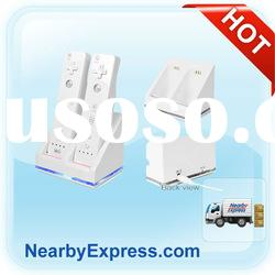 Dual Charger Charging Dock Station + 2 Battery For Wii