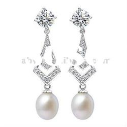 Earring jewelry Fashion 925 silver Piercing Natural stone pearl SE0008PL