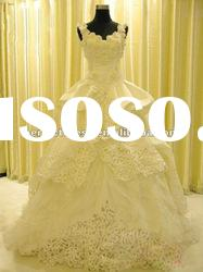 Fashion 3D flowersSleeveless wedding dress ball gown