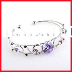 Fashionable Metal bangles and bracelets with rhinestone, Made of Alloy, Available in Various Colors