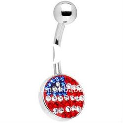 Gem navel ring American Flag Belly Ring,body piercing jewelry