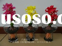 Glass Potted Hyacinth Ikebana PU Artificial Flowers Plastic Decorative Flowers