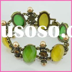 Green and yellow crystal copper bangle /bracelet for women
