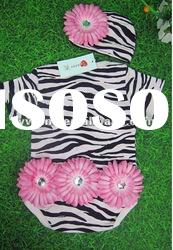 Highly recommend! Zebra baby cotton romper/lovely design romper with flower/wholesale infant rompers