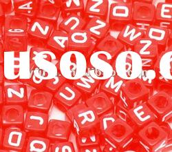 Hot Red Transparent Red Plastic cube beads! Square Acrylic alphabet beads!