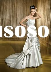 Hot sale ! Classic best-selling gorgeous silver Spaghetti Strap wedding dress