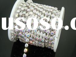 Hot sell Fashion Design Roll Rhinestone Cup Chains For Clothes Accessories,Crystal Rhinestone Chain