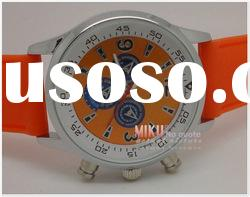 Men's watch with stainless steel case various silicone band