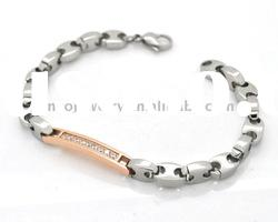Men style solid steel bracelets with PVD rose gold plating ID link with stone on it
