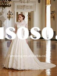 New fashion long sleeve A-line lace and satin wedding gown