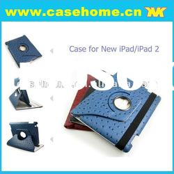 Ostrich Magnetic Leather Case for new iPad/ipad 2.