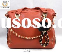 Red PU leather Lady Handbag Cheap