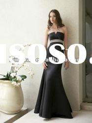 Satin black with lilac sash 2012 party dress