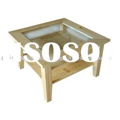 Solid wood with glass top tea table