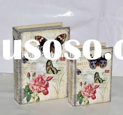 Spring Flower & Butterfly Scene Decorative Wooden Book Box