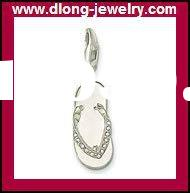 TMS935 Fashion 925 Silver TMS Slippers With Diamond Charm,Pendant