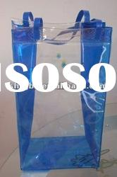 Transparent pvc bag for wine packaging with handle