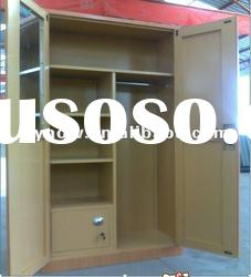 Two-door bedroom steel knock down wardrobe furniture with mirror and a safe inside
