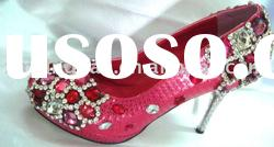 WS178 custom made high heel red crystal jeweled bridal wedding shoes