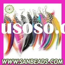 Wholesale Colored feathers latest earrings long feather earrings