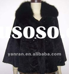 YR-675 Korean style sheared rabbit fur coat with fox collar
