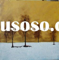 abstract landscape oil painting of tree and snow scenery