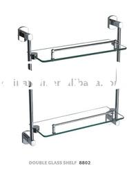 bathroom accessories double layer glass shelf