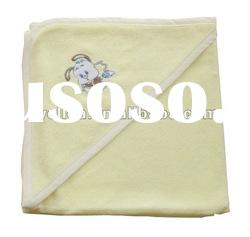 beautiful soft comfortable yellow embroidered animal baby hooded towel