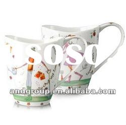 cartoon porcelain drinking mug/ceramic porcelain cup with cute decal/Tideway porcelain mug