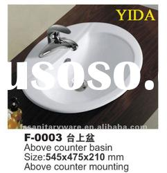 ceramic above counter basin for bathroom with round model