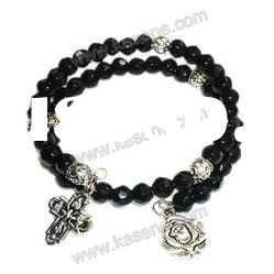cheap crystal beads rosary bracelets with cross
