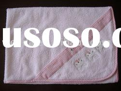 cute pink embroidered Baby Hooded Towel