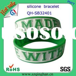 fashion 190mm 1 inch rubber silicone wristbands/bracelet