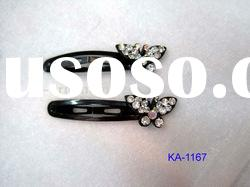 fashion metal clip with crystal butterfly accessories for girls