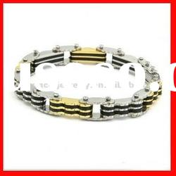 fashion stainless steel with gold cable bangle bracelet