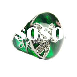 green crystal womens 316L stainless steel ring