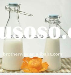 high quality milk glass bottle with mental lid