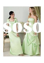 off shoulder straigth floor-length A-line ruffle light green bridesmaid dress