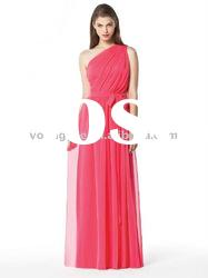 one shoulder floor-length A-line bridesmaid dress